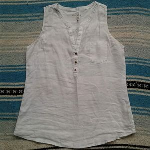 Lilly Pulitzer Top White Linen Popover Sleeveless
